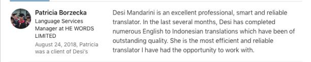 Language Services at HE WORDS Ltd testimonial about Desi Mandarini's services as a linguist