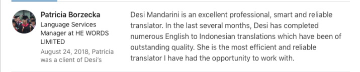 Language Services at HE WORDS Ltd testimonial about Desi Mandarini's services as a linguist