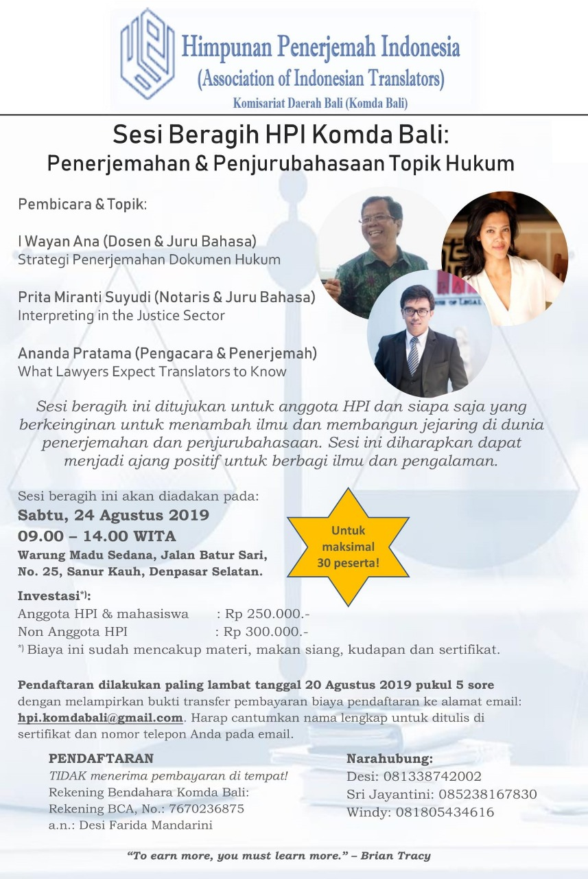 Sharing session by Association of Indonesian Translators (HPI) Komda Bali, Aug 2019
