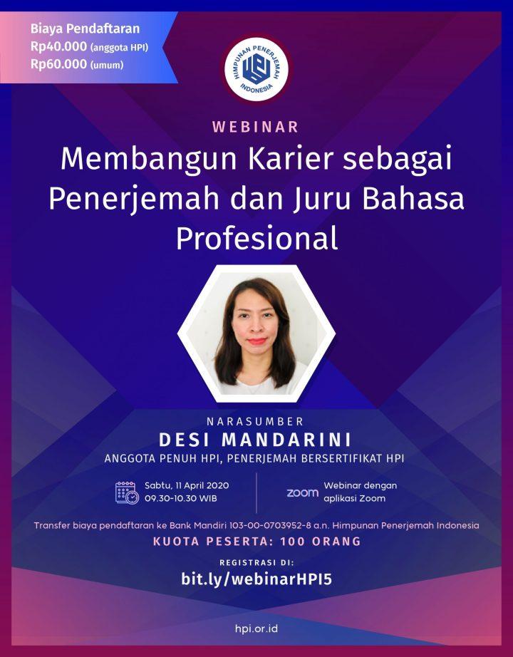 Webinar HPI ke-5: Membangun Karier Sebagai Penerjemah & Juru BahasaProfesional
